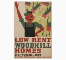 WPA United States Government Work Project Administration Poster 0962 Low Rent Woodhill Homes Cleveland Metropolitan Housing Authority One Piece - Long Sleeve