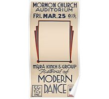 WPA United States Government Work Project Administration Poster 0455 Mormon Church Auditorium Myra Kinch and Group Festival of Modern Dance Poster