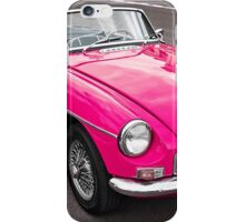 Pink convertible MG classic car iPhone Case/Skin