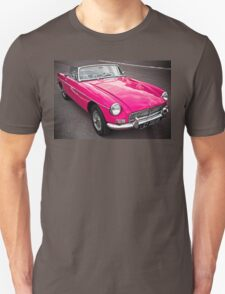 Pink convertible MG classic car Unisex T-Shirt