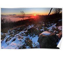 Lake Mountain sun set. Poster