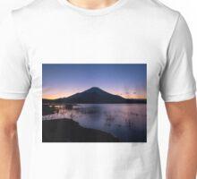 Fujisan stands on evening lake Unisex T-Shirt