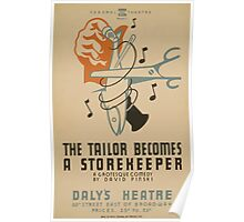 WPA United States Government Work Project Administration Poster 0664 The Tailor Becomes a Store Keeper David Pinski Daly's Theatre Poster