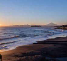 Sunset, Fujisan, Enoshima, beach, surfer Sticker