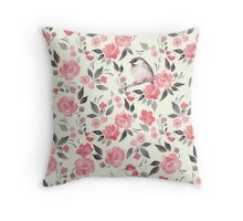 Watercolor floral background with a cute bird 2 Throw Pillow