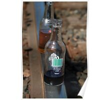 Old-time soda bottles on tracks Poster