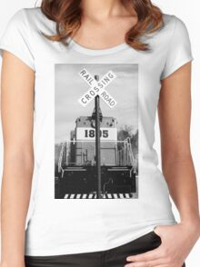railroad croassing Women's Fitted Scoop T-Shirt