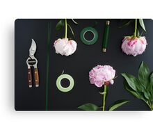 Florist workplace and accessories Canvas Print
