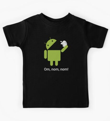 Android Om Nom Nom - Android Eat Apple Kids Tee