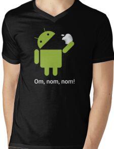 Android Om Nom Nom - Android Eat Apple Mens V-Neck T-Shirt