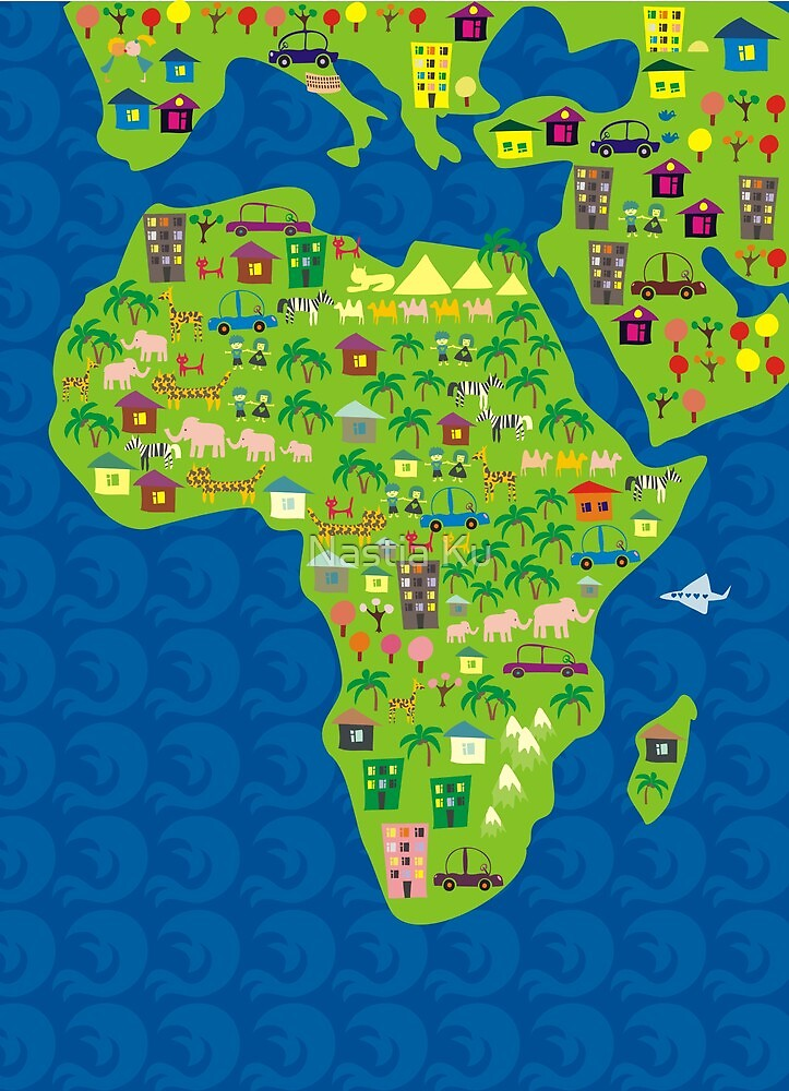 cartoon map of africa by Anastasiia Kucherenko