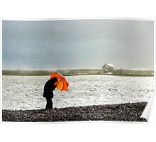 Man With The Orange Umbrella Poster