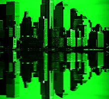 Night Vision Downtown NYC Cityscape Skyline by upthebanner