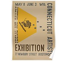 WPA United States Government Work Project Administration Poster 0867 Connecticut Artists Newbury Street Boston Exhibition Poster