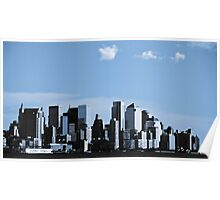 Downtown New York City. NYC Skyline over hudson river. Poster