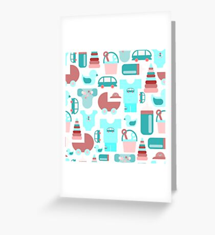 Pattern of baby goods icons. Set of flat icons. With the new baby! Greeting Card