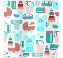 Pattern of baby goods icons. Set of flat icons. With the new baby! Poster