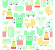 Pattern of baby goods. With the new baby! Photographic Print