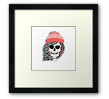 Skull girl in a hat with a flowing hair. Winter is coming. Framed Print