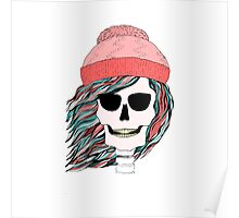 Skull girl in a hat with a flowing hair. Winter is coming. Poster