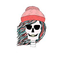Skull girl in a hat with a flowing hair. Winter is coming. Photographic Print