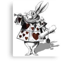 White rabbit heart Canvas Print