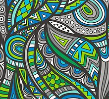 Wild Aztec in Blue Gray by CajaDesign