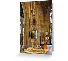 ST Wulframs Church Font Grantham,England Greeting Card