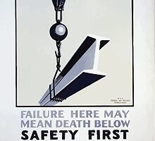 WPA United States Government Work Project Administration Poster 0373 Failure Here May Mean Death Below Safety First by wetdryvac