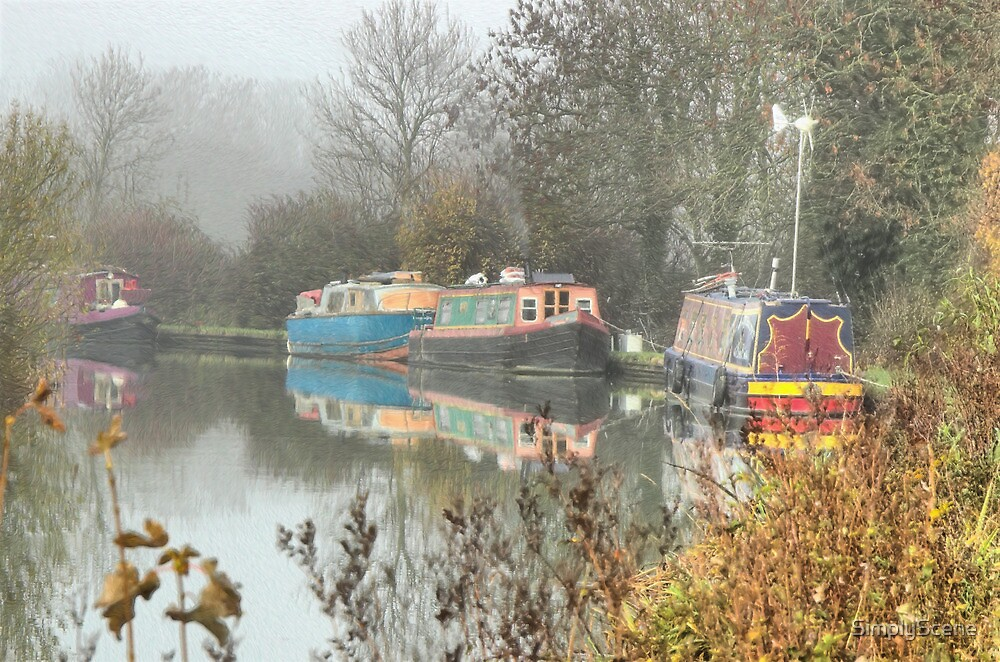 Misty Autumn Canal Scene by SimplyScene