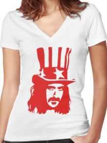 Frank Zappa For President Women's Fitted V-Neck T-Shirt
