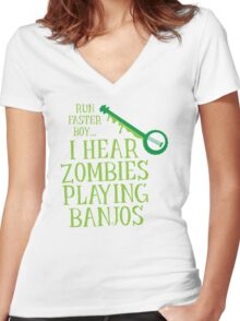 RUN FASTER BOY, I hear zombies playing BANJOS Women's Fitted V-Neck T-Shirt