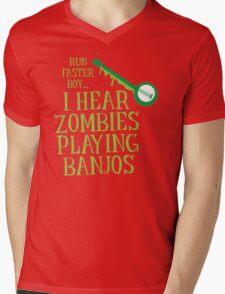 RUN FASTER BOY, I hear zombies playing BANJOS Mens V-Neck T-Shirt