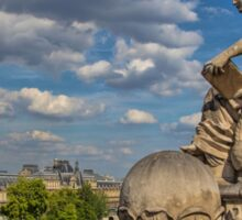France. Paris. View at Seine river and Louvre from d'Orsay. Sticker