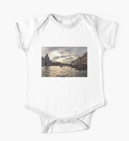 Impressions of Venice - the Grand Canal in Silver and Pearl One Piece - Short Sleeve