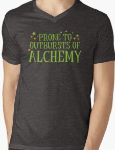 Halloween funny: Prone to outbursts of ALCHEMY  Mens V-Neck T-Shirt