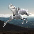 Unicorn flying over the Comeragh Mountains by Declan Carr