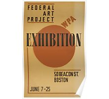 WPA United States Government Work Project Administration Poster 0587 Federal Art Project Exhibition Beacon Street Boston Poster