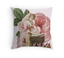 Victorian Lady Woman Pink Dress Rose Throw Pillow