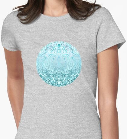 Twists & Turns in Turquoise & Teal  Womens Fitted T-Shirt