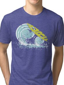surfboard on waves Tri-blend T-Shirt