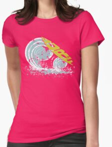 surfboard on waves Womens Fitted T-Shirt