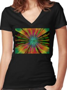 Colorful Psychedelic Pattern Women's Fitted V-Neck T-Shirt