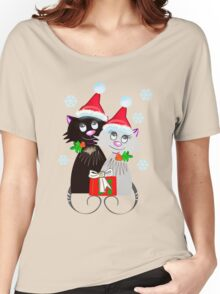 Cats with Santa Hats Women's Relaxed Fit T-Shirt