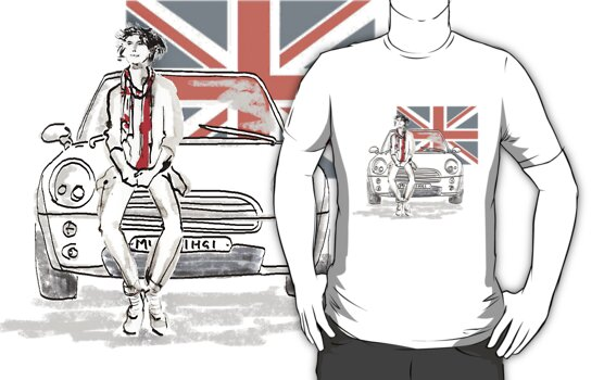 Mini car and Union Jack  by Amanda Latchmore