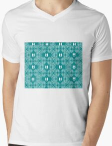 Teal n White Abstract Seahorse Sketch Mens V-Neck T-Shirt