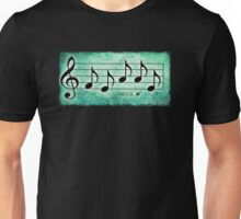 METAL - Words in Music Teal Green Background - V-Note Creations Unisex T-Shirt