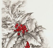 Holly and berries by lizblackdowding