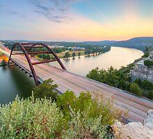 360 Bridge Sunset over Austin in August 2 by RobGreebonPhoto