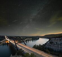 Perseid Meteors over the 360 Bridge in Austin, Texas by RobGreebonPhoto